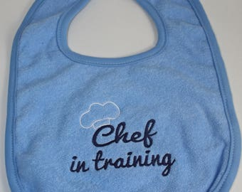 Embroidered Baby Bib or Onesie- Chef in Training- Future Chef; Baby; Blue; Pink; White