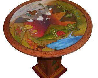 """PAINTED ROUND TABLE -  30"""" D x 30""""H  - Painted furniture - wood table - Bistro - Table Center Table - Kitchen table - custom round table"""