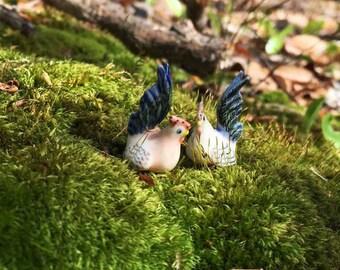 2 Tiny Ceramic Chicken/ Miniature Chicken/ Chicken Terrarium Accessories/ Miniature Rooster/  Miniature Hen/Fairy Garden Accessories