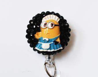 Minion Maid ID Badge Reel - Retractable ID Badge Holder - Zipperedheart