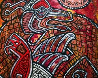 Original Dragon Tribal Fantasy Art Painting by Lynnette Shelley