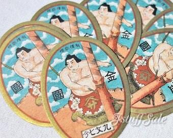 Set of 20 - Vintage Japanese labels - SUMO wrestler 1920's-1930's Original