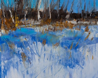Bright, Colorful, Blue, Melting Snow, Tree line, Snowy Field Landscape, Blue Sky, Original Painting by Clair Hartmann
