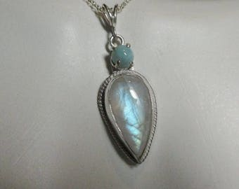 Rainbow Moonstone and Larimar Pendant With Chain Sterling Silver