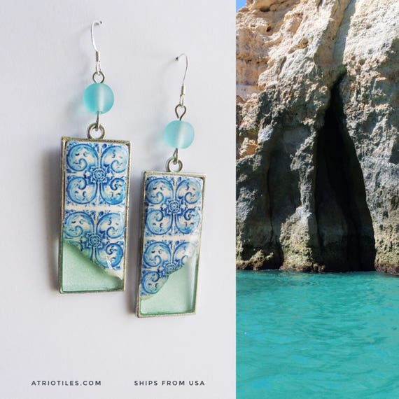 Earrings Portugal Tile Portuguese Blue Azulejos Dipped in Ocean - University of Évora founded in 1559 - Historic! 700