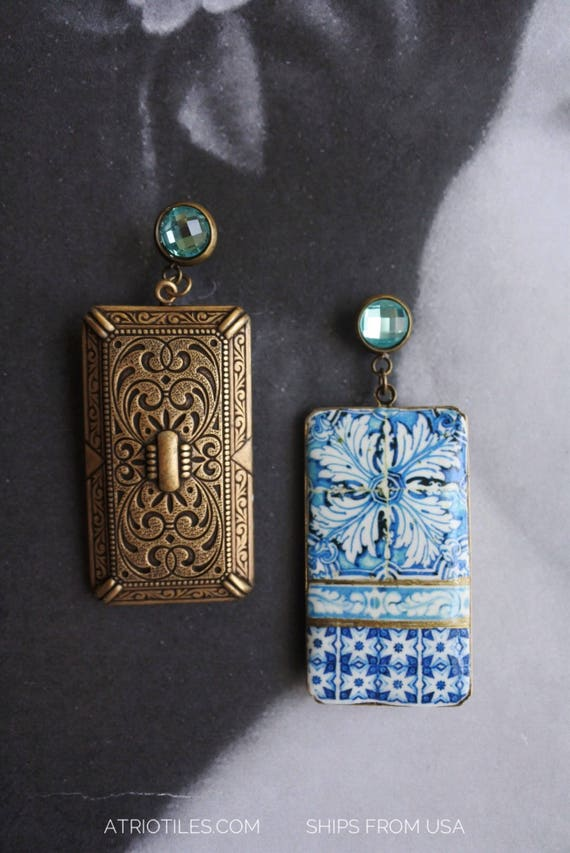 Earrings Tile Portugal Azulejo Blue Rhinestone Post Stud Antique 16th Century FRAMED Tomar - Convent of Christ built in 1160