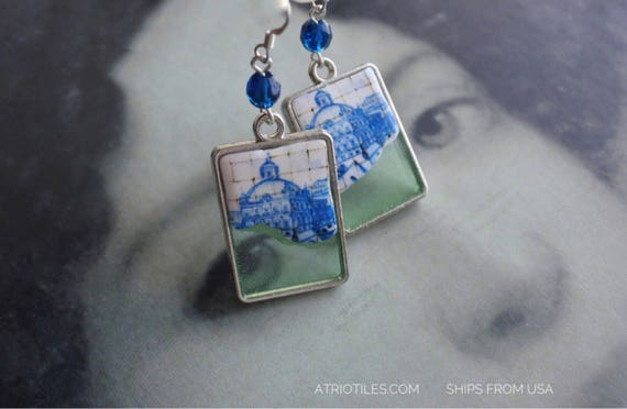 Earrings Tile Portugal Azulejo Lisbon Blue Antique Dipped in OCEAN   Great View of Lisbon 1700 pre-earthquake tsunami - Ships from USA
