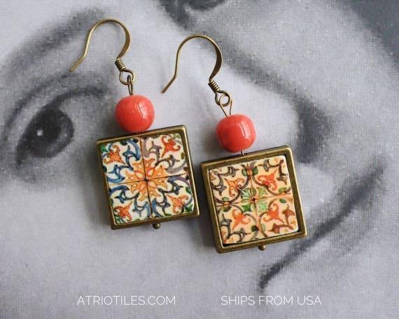 Earrings Portugal Tile Antique Azulejo  COIMBRA 1590, Se de Coimbra - Gift Box Included - Ships from USA  473
