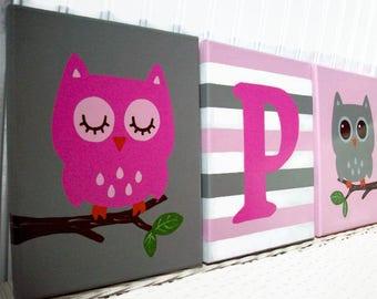 Owl Nursery Paintings - Pink Grey Woodland Owls - Girls Nursery Wall Hangings - Baby Girl Room - Handpainted Nursery Art