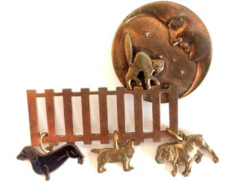 Copper Pin with Dogs