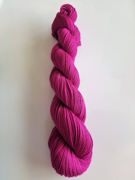 Amethyst- 100% cotton, solid colorway, Sport weight, hand dyed