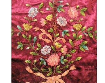 Antique Chenille Velvet Embroidery Panel Gorgeous!