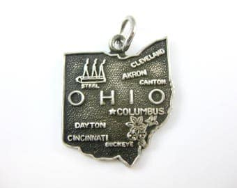 Vintage Ohio State Cut Out Sterling Silver Charm