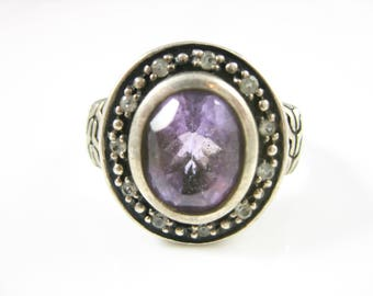 Size 9 3/4 Vintage Sterling Silver Amethyst & CZ Ring