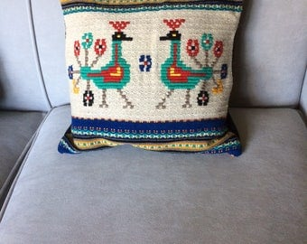 Wool Throw Pillow with South American Design of Colorful Alpacas or Llamas