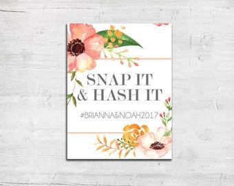 Signage - Blush Gold Floral Theme - Hashtag Sign - Social Media - Wedding Reception Sign - Instagram - Facebook - Twitter - Snapchat