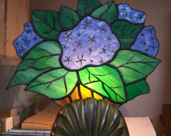 Hydrangia Blue stained glass light
