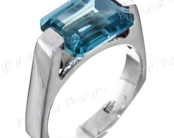 Opulent 4ct Blue Topaz Quartz 925 Sterling Silver Us 9 Ring