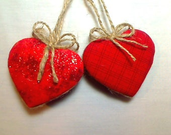Red Heart Ornaments   Holidays   Valentine's Day   Wedding/Bridal   Party Favors   Tree Ornament   Folk Art   Handmade Gift   Set/2   #2