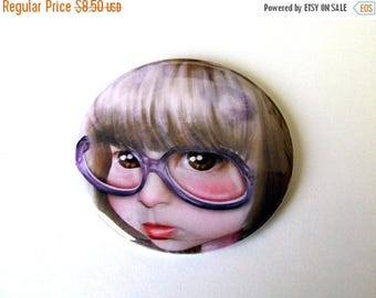 """50% Off SALE Pocket Mirror """"Imperfect - Portrait of the Artist as a Child"""" 2 1/4"""" - Little Girl Huge Glasses"""