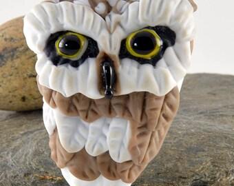 OWL head sculpture focal glass lampwork bead, Izzybeads SRA