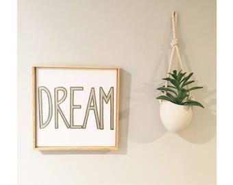 Dream - Hand painted Canvas - bedroom painting decor home house dwell wall hanging decoration black white paint art work