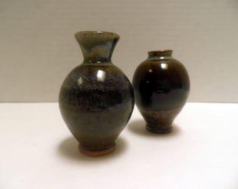 2 Miniature Stoneware Pots, wheel thrown pottery