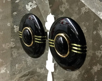 Totally Large Headlight Inspired Black Gold Tone Earrings Unsigned Clip On 1980's Round Circular Medallion Shaped Gold Tone Lines Day Wear