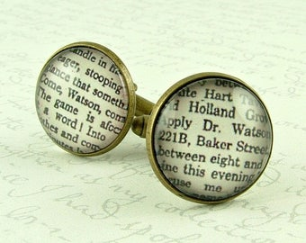 Valentine Gift Ideas - Sherlock Holmes Cufflinks - Dr Watson - Wedding Gift - Unique Accessory - Literary Gift For Him - Book Lover Present