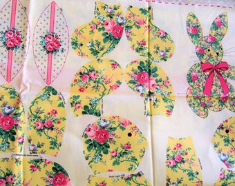 FREE SHIP - Cranston Screen Print Fabric Panel Stuffed Rosebud Bunny with Eggs & Bow