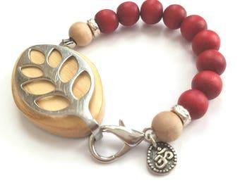 Bellabeat Leaf - RED wooden bracelet with OM .925 sterling silver stretch