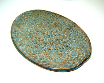 Lace Oval Plate – Blue ceramic dish – doily design– spoon rest – decorative plate – stoneware pottery – Goldhawk Pottery