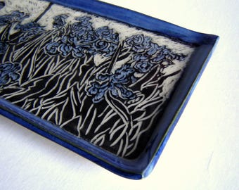 Iris Floral Tray – Serving Platter – Sushi Plate – gardener gift- Entertaining Dish – Sgraffito Pottery – Handmade Ceramics – Ready to Ship