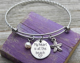 My heart is at the beach Charm Bangle Bracelet
