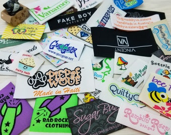 Custom Woven Label for clothing  200pcs (Artwork) HemTags / Center fold / Hat / Vintage / Brand Label / Tee / End Fold / Supplies