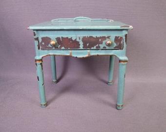 "Arcade Vintage Iron Dollhouse Furniture - Bedroom Desk in Blue Enamel - 1 1/2"" Scale"