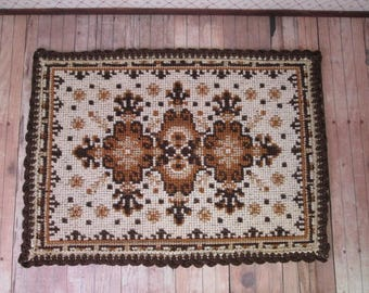 """Vintage Dollhouse Accessory - Needlepoint Rug is Shades of Brown - 9"""" by 6 1/2"""""""
