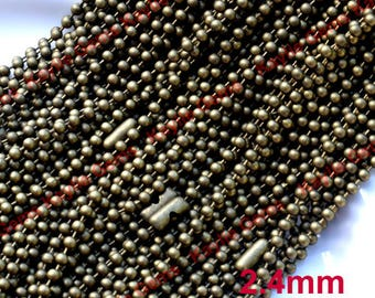 Sale 100pcs Quality Ball Chain 2.4mm Necklaces in 24 inch Length - Domestic shipping only