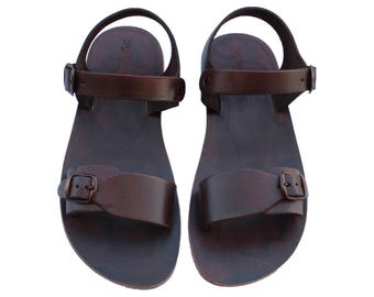 CLEARANCE SALE - Dark Brown Eclipse Leather Sandals - All Leather Sole  - Euro # 39 - Handmade Unisex Sandals, Genuine Leather, Sale