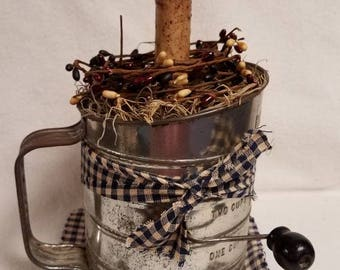 Vintage Flour Sifter with Timer Candle