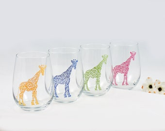 Giraffe wine glass - Hand painted stemless wine glass - Safari Collection, primary colors