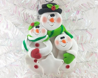 Personalized Snowman Family Christmas Ornament - Snow Family of Three - Gift for Family of Three - Polymer Clay - Snowman Collectible -859