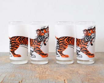"Esso Tiger glasses, vintage 60s ""Put a Tiger in Your Tank"" set of four tumblers, mid century modern glasses"
