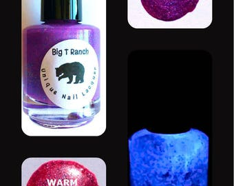 Unicorn Pink to Purple Color Changing AND Glow in the Dark Nail Polish - Glows Purple - Mood Nail Polish