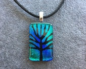 Tree of Life Etching on Blue Green  Dichroic Glass