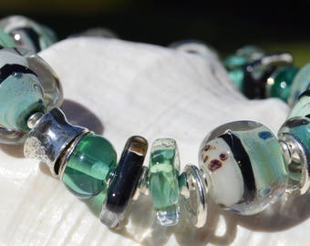 Reserve for Lucia-BREATH of FRESH AIR-Handmade Lampwork and Sterling Silver Bracelet