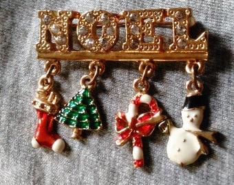 Vintage Noel Christmas Rhinestone Brooch dangle Holiday Pin Christmas Tree Candy Cane  Snowman Christmas Stocking