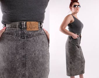 black acid wash denim high waist pencil skirt vintage 1980s 1990s Sunset Blues jeans