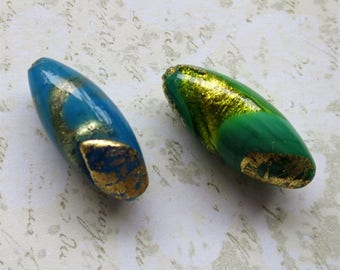 Venetian glass beads tow focal oval turquoise green gold