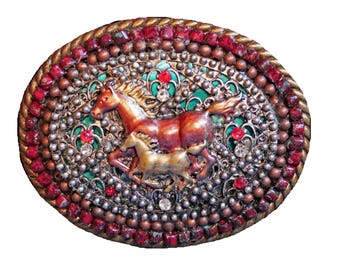 Western Horse Rhinestone Belt Buckle, Mare and Foal Belt Buckle, Horse Belt Buckle, Women's Western Accessories